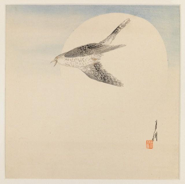 Nightingale Flying by Moon by Ogata Gekko